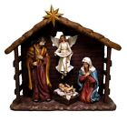 NATIVITY SCENE STATUE 6 PIECE SET MARY JOSEPH JESUS ANGEL AND MANGER FIGURINE