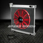 2 ROW ALUMINUM RACING RADIATOR+14 RED FAN 97 06 JEEP WRANGLER YJ TJ 24 42L