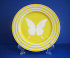 SALAD PLATE  Papillion Yellow Butterfly Bands Vtg 1980s by  Fitz