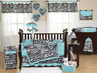 JOJO LUXURY BLACK WHITE BLUE AND ZEBRA BABY GIRL CRIB COMFORTER BEDDING SET ROOM