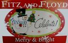 Fitz and Floyd Merry & Bright SNOWMAN w Christmas Tree Sentiment Tray NIB NEW