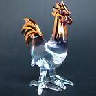 Rooster Chicken Figurine Hand Blown Glass Gold Crystal