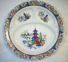 VINTAGE VICTORIA CZECHOSLOVAKIA PORCELAIN DIVIDER PLATE WITH CHINESE SCENE