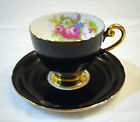 SHELLEY FINE BONE CHINA ENGLAND GOLD GILDED BLACK ROSE FOOTED TEA CUP