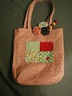 PATCHWORK HANDBAG - HANDMADE - GINGHAM - CALICO - COTTON - FLOWER TRIM