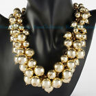 New Fashion Gold Chain Resin Pearl Cluster Chunky Choker Statement Bib Necklace