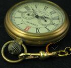 Vintage Full Copper Hand-wind Mechanical Pocket Watch Second&24hours Sub-dials