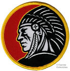 INDIAN CHIEF HEADDRESS EMBLEM PATCH IRON ON EMBROIDERED RED ROUND LOGO