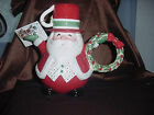 FITZ & FLOYD ESSENTIALS SNACK THERAPY SANTA TEAPOT W/ LID TEA POT COCOA NIB