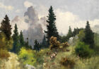 Great oil painting wild animals deer in the mountains in summer landscape canvas