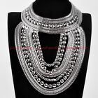 Fashion Tribal Silver Snake Chain Chunky Choker Statement Pendant Bib Necklace
