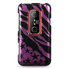 For Sprint HTC EVO 3D Protector HARD Case Snap on Phone Cover Purple Star Zebra