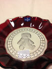 White Etched Teddy Bear Holiday Plate-New