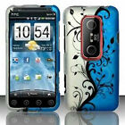 For Sprint HTC EVO 3D Protector HARD Case Snap on Phone Cover Blue Vines