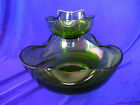 Vintage Anchor Hocking Avocado Green Glass Chip and Dip Set 2 bowls
