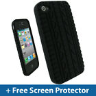 Black Tyre Silicone Skin Case Cover for Apple iPhone 4 16GB 32GB Bumper Holder