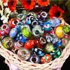 100 New Silver Lampwork MURANO GLASS European Style Mix Beads