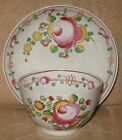 EARLY 19TH CENTURY ENGLISH PEARLWARE GAUDY QUEENS ROSE TEA BOWL