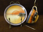 Vintage Takito China Lake Scene Pattern Lusterware Cup and Saucer, TK13, 2 of 6