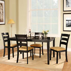 TRIBECCA HOME Wilma Black Ladder Back Cushioned 5-piece Dining Set