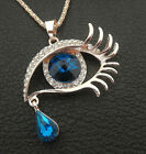 Rose Gold Plated Blue Evil Eye Glass Crystal Hamsa Pendant Sweater Necklace