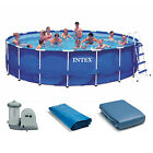Intex 18 x 48 Metal Frame Above Ground Swimming Pool Set with 1500 GPH Pump