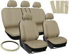 Car Seat Covers for Toyota Camry Solid Beige w/Steering Wheel/Belt Pad/Head Rest