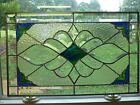 Gorgeous!!Blue,Green,Amber REAL Stained Glass & Beveled Panel-Hand Made USA !!