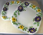 Set of 2 RICHARD GINORI SERVING PLATTERS Hand Painted Flowers OBLONG 14