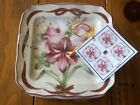 222 Fifth Yuletide Celebration Amaryllis 4 Appetizer Plates NWT