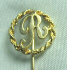14K Gold Initial R Stick Pin  1.3 grams  2 1/8