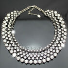 Celebrity Antique Silver Bling Crystal Pave Bead Chain Kate Necklace Bloggers