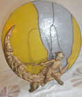 estate sale VICTORIAN stained  glass  ANGEL & MOON  METAL  DECORATIVE PIECE