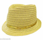 August Accessories Women's Gold-Tone Sequin Trim Metallic Detail Natural Fedora