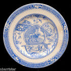 Childs Country Blue Plate Newfy Dog with Girl Allerton Staffordshire 1880