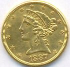1887-S GOLD 5 DOLLAR *CORONET HEAD* USA, AUNC++