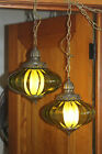 Pair VTG 1960s Swag Lamps Hanging Lights Green Pull string HIGH END