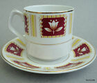Wood & Sons UK Tea Cup & Saucer Set Tulip on Red Squares Alpine White Ironstone