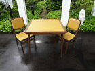 VTG ANTIQUE LEATHER TOP MID CENTURY MODERN FOLDING WOOD GAME CARD TABLE