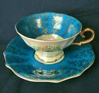 Royal Sealy Gold Floral Filet on Turquoise Footed Teacup & Saucer China Set