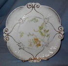 Late 1800s Early 1900s Dresden Germany Floral Plate.with Gold Trim