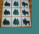 Set of  9   Lodge/Cabin  Moose Bear Pine Tree  Applique Quilt  Blocks