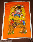 VINTAGE PANEL TIME WESCO RELTEX LAZY EASTER BUNNY RABBIT WALL FABRIC PANEL QUILT