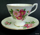 Taylor & Kent UK Teacup & Saucer Pink Wild Tea Rose Pedestal Bone China c1950s