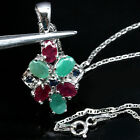 WONDERFUL! NATURAL! EMERALD, RUBY & SAPPHIRE 925 SILVER PENDANT - NECKLACE