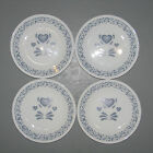4 Corelle Bread And Butter Plates In The Blue Hearts Pattern By Corning