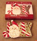 CHRISTMAS FITZ & FLOYD SNACK THERAPY JOLLY SANTA ELONGATED TRAY NEW IN BOX