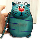 Blue Genuine Leather Handmade Cat Money Coin Purse Wallet Kid Women's Lady ZP12