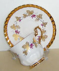 BEAUTIFUL VINTAGE ROSINA CUP & SAUCER GRAPE VINE TONS OF GOLD UNUSED ELEGANT