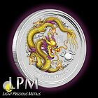 2012 1oz Silver Perth Mint Australian YELLOW/Purple Lunar Dragon Coin Color RARE